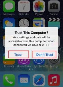 """""""Trust this computer"""" của iphone khi kết nối với máy tính là gì"""